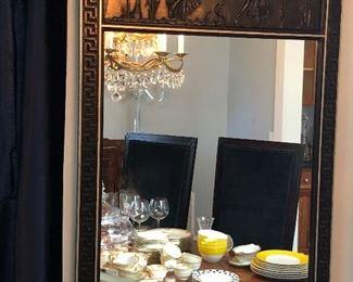 large Greek key detailed mirror