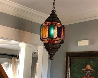 Lantern stained glass light fixture