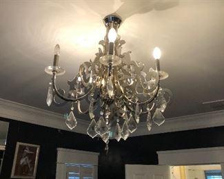 chrome chandelier in master
