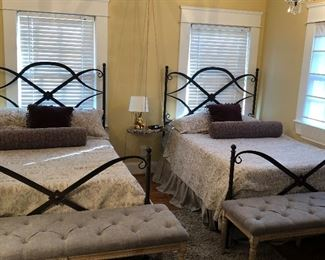 Pair of full size iron beds