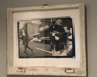 photograph in antique window frame