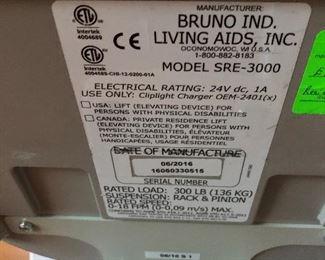bruno ind stair lift model sre-3000
