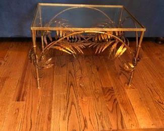 hollywood regency gold leaf table