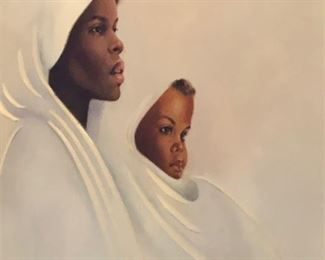 Mother and child lithograph on canvas. Ida Jackson