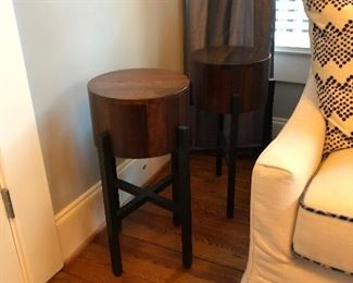 Pair of maple blocks on metal end tables