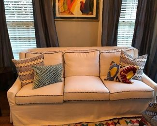 White heavy linen modern slip covered sofa