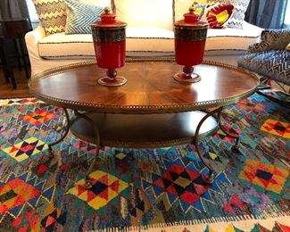 Vintage double gallery oval brass comfy table