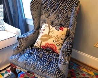 Vintage patch work cruel wing back chairs