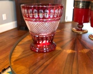 large red to clear crystal vase