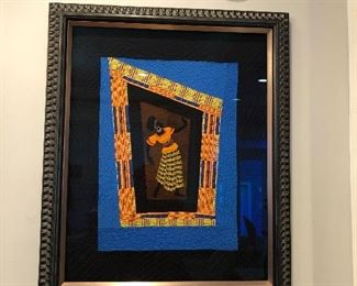 Framed quilt by Faith Ringgold. Activist, feminist, artist.  Founder of The Anyone Can Fly foundation.