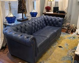 leather craft blue tufted chesterfield twin sofas