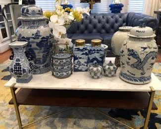 gropu of blu and white chinoiserie vases and jars