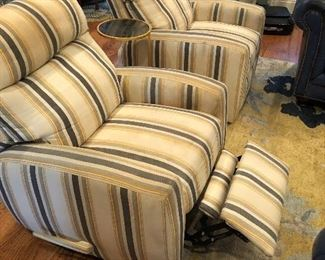 Pair of striped linen recliners