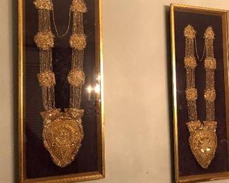 Framed Antique Ceremonial Bibs.