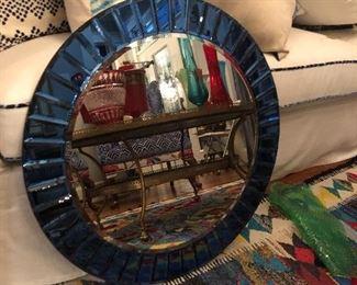 Colbalt blue round mirror