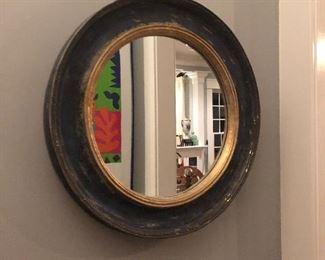 Blue gold distressed round mirror