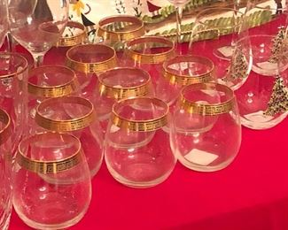 Gold Greek key bar glasses
