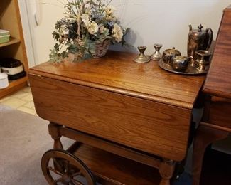 Mint condition solid wood cart 175.00