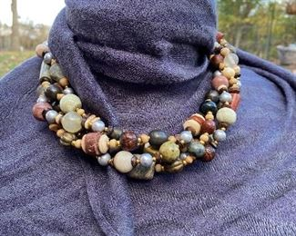 "18"" Unsigned David Navarro alternatives 4 strand torsade stone, jade, wood, carved and gold bead choker with bone toggle"