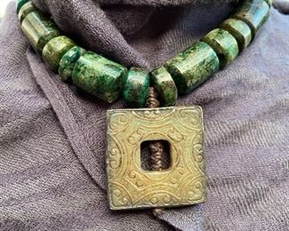 "Sterling framed jade pendant 1.5"" sq. on leather strap necklace with dark green/turquoise stone"