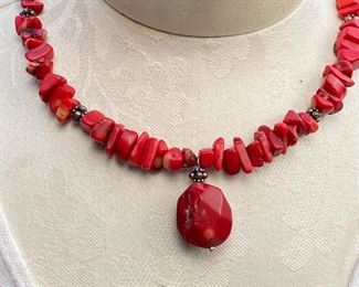 Red coral necklace on wire approximately 17""