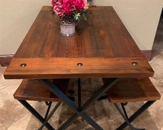 Wood and iron kitchen table