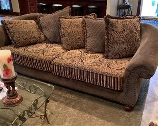 Tan and cream sofa and loveseat Family room furniture  Living room furniture