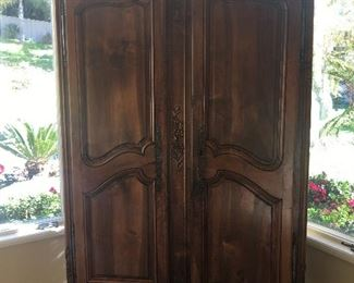 Antique country french armoire with fine carved details, circa 1790