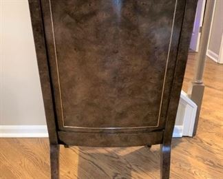 Mid Century modern Mastercraft Burl and Brass Dining Room Chairs detail. Details and pricing will be available on November 19th after 6 p.m. at https://shop.mlestatesales.com