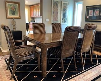 Mid Century modern Mastercraft Burl and Brass Dining Room Table and Chairs. Details and pricing will be available on November 19th after 6 p.m. at https://shop.mlestatesales.com