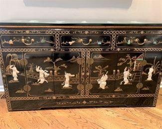 Chinoiserie console sideboard or buffet with three drawers. Details and pricing will be available on November 19th after 6 p.m. at https://shop.mlestatesales.com
