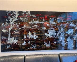 Large lacquer and mother of pearl 4-panel wall art. Details and pricing will be available on November 19th after 6 p.m. at https://shop.mlestatesales.com