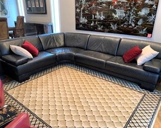 Fine black leather sectional by W. Schillig Germany. Details and pricing will be available on November 19th after 6 p.m. at https://shop.mlestatesales.com