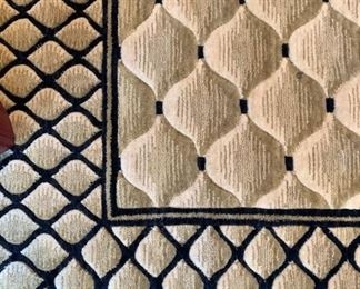 Detail of 100% New Zealand Wool Vallencierre collection area rug. Details and pricing will be available on November 19th after 6 p.m. at https://shop.mlestatesales.com