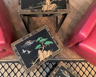 Black lacquer Chinoiserie nesting tables. Details and pricing will be available on November 19th after 6 p.m. at https://shop.mlestatesales.com
