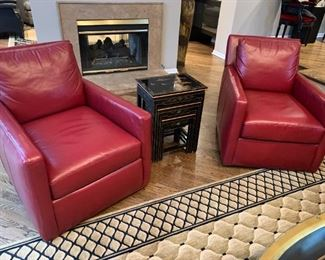 Bradington Young Red Leather swivel glider chairs. Details and pricing will be available on November 19th after 6 p.m. at https://shop.mlestatesales.com
