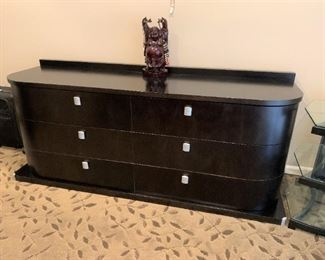 Art deco style Viso Bedroom suite. Includes platform bed, two end tables, armoire and large chest. Details and pricing will be available on November 19th after 6 p.m. at https://shop.mlestatesales.com