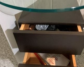 Modern 2 drawer chrome and glass table. Details and pricing will be available on November 19th after 6 p.m. at https://shop.mlestatesales.com