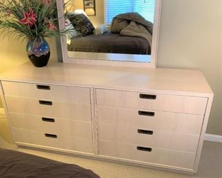 Mid century blonde wood dresser with coordinating mirror. Details and pricing will be available on November 19th after 6 p.m. at https://shop.mlestatesales.com