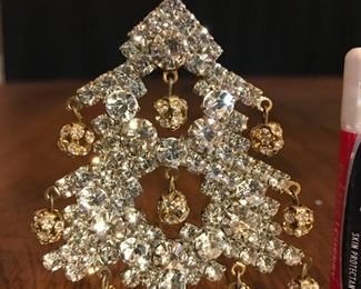 """Clear, with dangly gold balls.  3.25"""" tall.  $95"""
