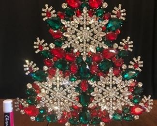 """Red, green, and clear crystals...snowflake pattern.  11"""" tall.  $495"""