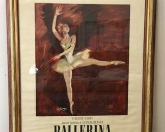 "Framed 1950 French Movie Poster ""Ballerina"", Lux Films et Memnon Films presentment Violette Verdy dans une production de Ludgwig Berger Ballerina. Frame Size 55"" x 73""."