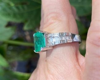 1. Emerald and diamond baguettes ring 4.40 carat 18 kt white gold -Call or text for pricing