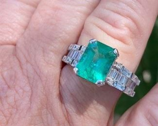 1. Emerald and diamond baguettes ring 4.40 carat 18 kt white gold, size 8 - Call or text for pricing