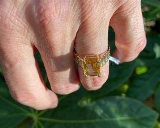 2.  Emerald cut Citrine, size 5 1/2, 14 kt yellow gold.  $225