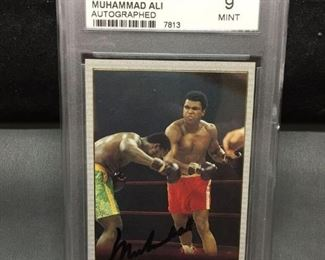 GMC Graded 1991 AW Sports MUHAMMAD ALI Signed Autographed Boxing Card - Mint 9