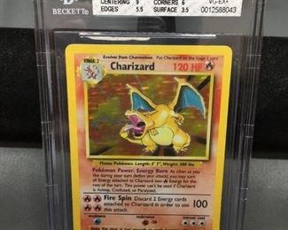 BGS Graded 1999 Pokemon Base Set Unlimited CHARIZARD Holofoil Rare Card - VG-EX+ 4.5