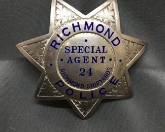 WOW! Amazingly Rare Richmond Police Shipyards Special Agent #24 Police Metal Badge