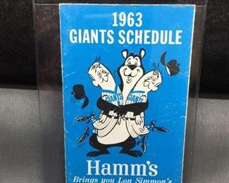 Very Rare 1963 San Francisco Giants Baseball Promotional Pocket Schedule - WOW