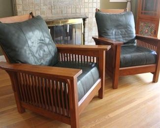 """#1. $300.00.  Pair Mission style oak chairs leather cushions 37.5""""h  X 33""""w X 22.5""""d"""